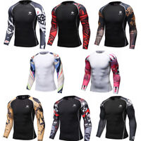 Mens Workout Gym Compression T-shirts Basketball Running Tops Base Layer Jersey