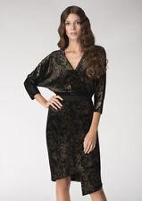 Black Velvet Jersey Kimono Wrap Dress by Closet London Uk16 - With Tags