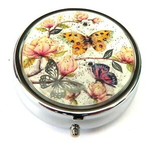 Butterfly and Flowers Pill Box 1.4 CM