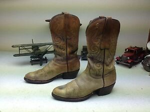 VINTAGE SAN ANTONIO LUCCHESE AMBER LEATHER WESTERN ENGINEER TRAIL BOSS BOOTS 10B