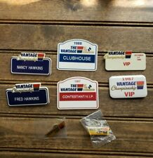 Fred Hawkins & Wife Vantage Golf Championship Name Tags Badges Pinback 1987-90