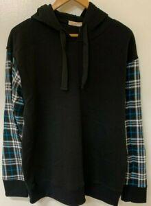COAST HIGHWAY Mens Hoodie with Flannelette Sleeves BNWT Size Large Black