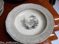 "John Ridgeway c1840s ""Doria"" pattern Stone Antique 3 soup  Plates 10 1/4"" [a4-1]"