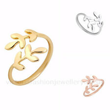 LAUREL LEAF RING in Silver, Gold or Rose Gold Plate. Thumb/Wrap ADJUSTABLE Gift