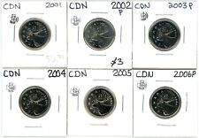 2001 2002 2003 2004 2005 2006 Canada 25 Cents Lot of 6 Unc from Sets #12953