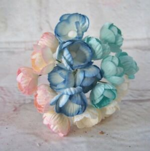 10x Mulberry paper  Mini Buttercup Flowers card making Craft  Embellishments