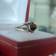 Finnish Modernist Silver Tigers Eye Ring - E. Granit & Co Finland 1966 - size L