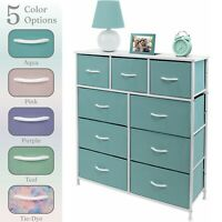 Nightstand Chest 9 Drawers Bedside Dresser Furniture for Bedroom Office Organize
