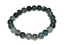 "Green Moss Agate Bracelet Crystal 8mm Round Beads Healing Stone Quartz Unisex 7"""