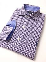 Ralph Lauren Men's Shirt Purple Tattersall Checks Cotton Stretch Poplin RRP £105
