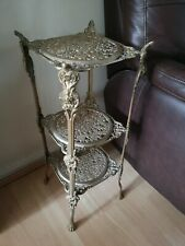 Vintage ANTIQUE Victorian BRASS side table Pot stand