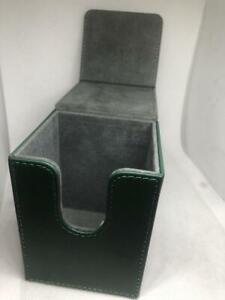 STGreen01 Leatherette Flip Deck Case Green 100+ Game Card Storage Box mtg