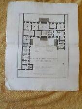 Gravure XVIIIe - Plan de l'Etage souterrain ou des offices