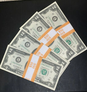NEW Uncirculated Two Dollar Bills, Series 2013, $2 Sequential Notes - Lot of 25