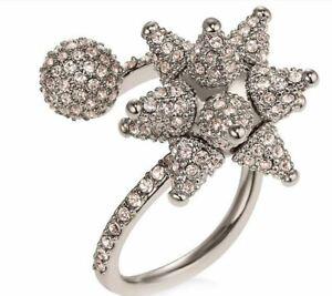NIB$249 Atelier Swarovski Kalix Spiral Ring palladium plated Pink Size 55 58