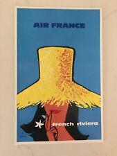 Vintage 1964 Air France Color Airline Travel Postcard French Riviera René Gruau