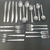 24 Pc Set Cambridge Hemisphere Stainless Steel Flatware Silverware Circles
