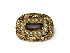 Victorian 15ct Gold Amethyst And Seed Pearls Brooch