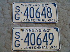 ANTIQUE PAIR OF CONSECUTIVE NUMBERS 1960 KANSAS LICENSE TAG/PLATE -40648 & 40649