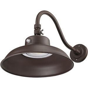 14 Inch 40W LED Gooseneck Barn Light, Dusk to Dawn 3000K Wall Light-Brown