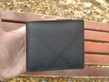 NEW Authentic Burberry Leather International Bifold ID Coin Wallet, Navy/Black