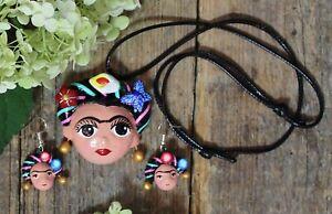 Cartoon Clay Frida Kahlo Necklace & Earrings Handmade Puebla Mexican Folk Art