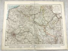 1899 Antique Map of France North East Provinces Old Original 19th Century GERMAN