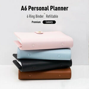 A6 Planner / Journal / Agenda with Leather Cover and 6 Binder Ring