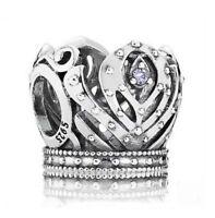925 Sterling Silver Anna's Crown Purple CZ Bead Fit European Charm Bracelet