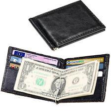Portafoglio clip fermasoldi da uomo in pelle nera porta carte di credito slim