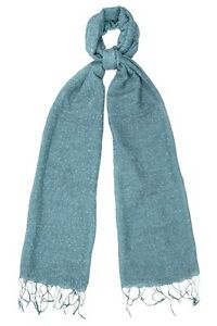 Teal Scarf Silk & Cotton Speckled weave - Fair Trade BNWT 180cm x 80cm