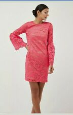 Next coral/pink Lace Bodycon Dress with flute sleeves size 10 bnwt rrp £55