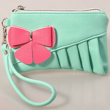 lady women evening clutch bag purse wallet wedding faux leather bowknot green