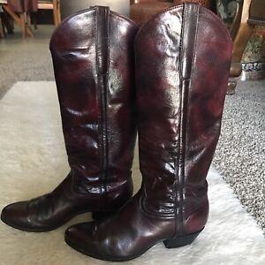 Tony Lama Tall Black Cherry Leather Women's Western Cowboy Boots 7.5 M