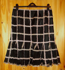PER UNA  black dusky pink tulle mesh chiffon midi party evening skirt 16R 44 M&S