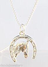 Silver Horse Head in Horse Shoe Luck Pendant Necklace Evergleam Non Tarnish!