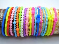 20 Assorted Thin Silicone Rubber Wristband Bracelet Elastic Hair Bands