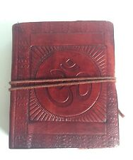 Diary Medium Leather Recycled OM AUM Hindu India Embossed Notebook Journal