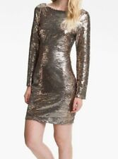 Jessica Simpson Dress Sz 10 Grey Satellite Falcon Sequin Long Sleeve Cocktail