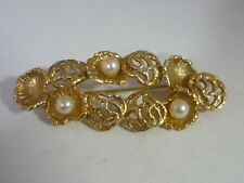 Stunning Large Modernist Vintage Pearl & Oyster Shell Design 9k Gold Brooch