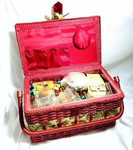 Huge Lot Vintage Sewing Basket Full of Sewing Notions; Thread, Scissors, & Bonus