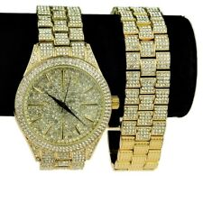 "Mens ""Hour Marks"" Iced-Out Yellow Gold Finish 8"" Inch Watch & Bracelet Bling Set"