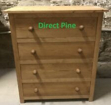 PINE FURNITURE EDWARDIAN SHAKER 4 DRAWER CHEST SOLID PINE NO FLAT PACKS