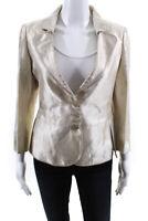 Emporio Armani  Womens Three Button Fitted Embroidered Blazer Cream Size 10