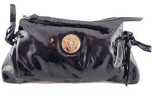 Gucci Black Patent Leather Hysteria Clutch Handbag, Authentic.