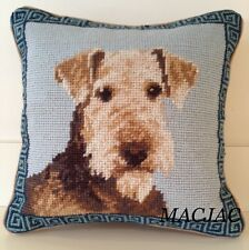 "Airedale Dog Needlepoint Pillow 10""x10"" NWT"