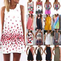 Boho Womens Tunic Loose Long Tops Beach Bikini Cover Up Mini Dress Sleeveless