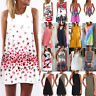 Plus Size Womens Boho Sleeveless Tank Top Tunic Mini Dress Summer Beach Sundress