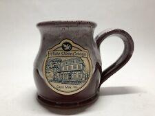 Deneen Pottery White Dove Cottage Cape May NJ Mug Drip Glaze Red Maroon USA