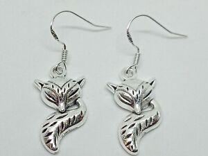 New Silver 925 Novelty Sleeping Fox Drop/Dangle Earrings Cute